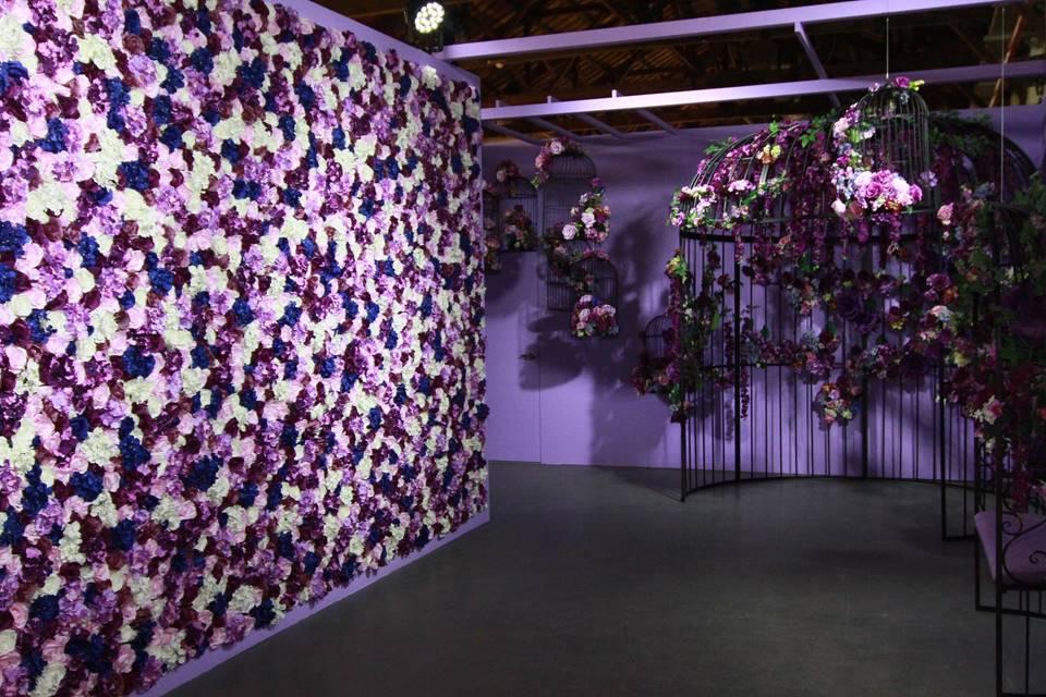 浪漫紫色的鳥籠花園